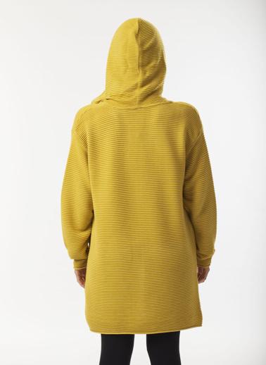 Stamina Kapüşonlu Links Örgü Cepli  Hırka Sarı